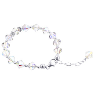 Swarovski Elements Beads and Bicon shape faceted Crystal Handmade Bracelet 8 inch Long