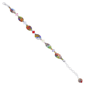 Multicolor Glass Beads & Crystal Bracelet