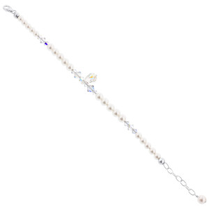 Swarovski Elements Imitation Pearl & Crystal Silver Bracelet