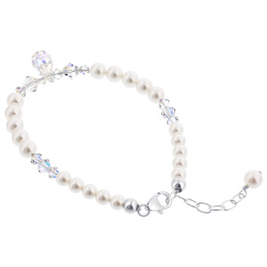925 Sterling Silver Made with Swarovski Elements Imitation Pearl and Crystal Bracelet 9 inch