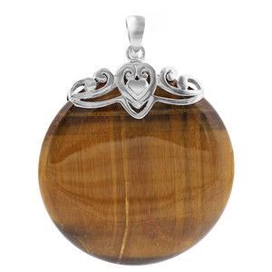 925 Sterling Silver Bail with Heart and Round Tiger Eye Gemstone Pendant