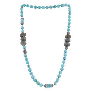 8mm Faceted Simulated Turquoise Cylindrical Shape Crystals Strands Necklace 40 Inch Long