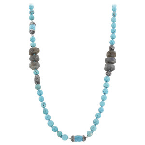 Faceted Turquoise Cylindrical Crystals Strands Necklace 40""