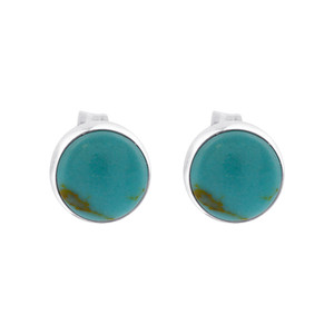 925 Sterling Silver 6mm Reconstituted Turquoise Post Back Stud Earrings