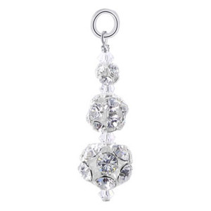 Swarovski Elements Round Multifaceted 925 Silver 25 x 10mm Pendant