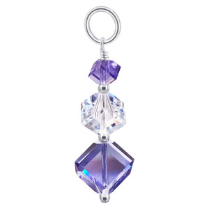 Purple and Clear Crystal Sterling Silver Pendant