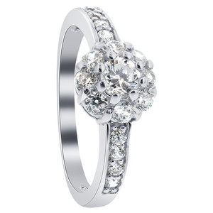 925 Sterling Silver Round Brilliant Cut Clear CZ Floral Design Ring