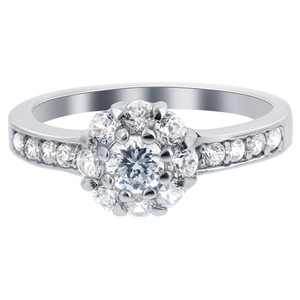 925 Silver 3mm Round Brilliant Cut Clear CZ Ring
