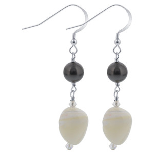925 Sterling Silver Mother of Pearl and Faux Pearl with Swarovski Elements Crystal Earrings