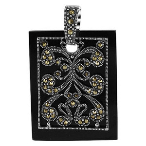 925 Sterling Silver Marcasite Design 1 x 1.3 inch Rectangle Pendant