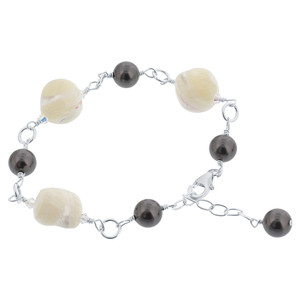 Faux Pearl Mother of Pearl Bracelet