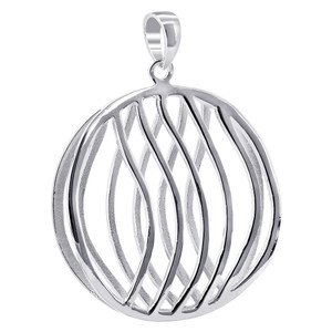 925 Sterling Silver 1.3 inch Round with Wavy Design Pendant