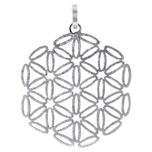 925 Silver 1.4 inch Scratched Snowflake Design Pendant