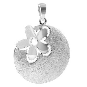 925 Silver scratch Circle with Flower Pendant