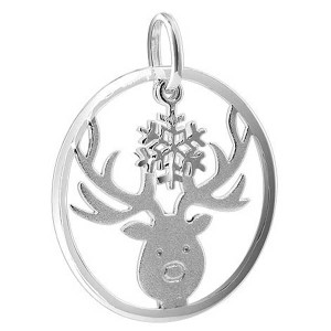 925 Sterling Silver 1.1 inch round Reindeer with Snowflake Pendant