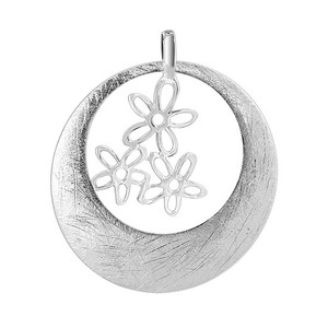 925 Sterling Silver Scratched Circle with Dangling 17mm x 15mm Flowers Pendant