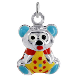 Multi Enamel Puffy Bear Pendant Charm