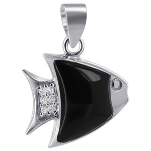 Silver Black Onyx with Clear CZ Fish Design Pendant