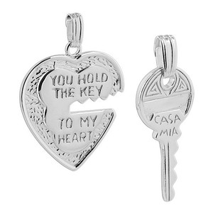 925 Sterling Silver Heart and key Pendant