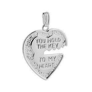 925 Sterling Silver Heart and key Pendant #MRPS003