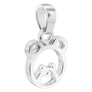 925 Sterling Silver 9mm x 10mm Small Teddy Bear Pendant