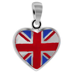 Sterling Silver Blue and Red Enamel Heart Union Jack Heart Pendant
