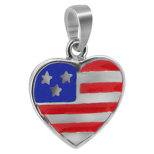 Sterling Silver Blue and Red Enamel Stars and Stripes Design Heart Pendant