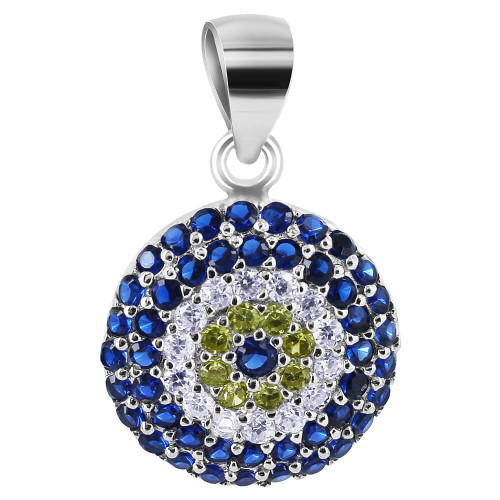 925 Sterling Silver Round Cubic Zirconia Pendant #P001