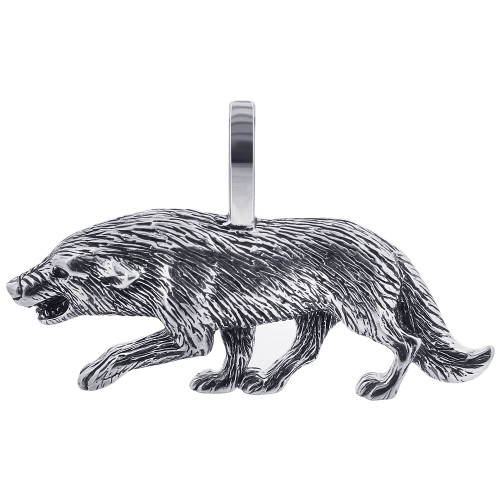 Sterling Silver 0.7 x 1.2 inch Wolf Pendant