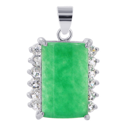 Silver Plated over Copper Nephrite Pendant with CZ