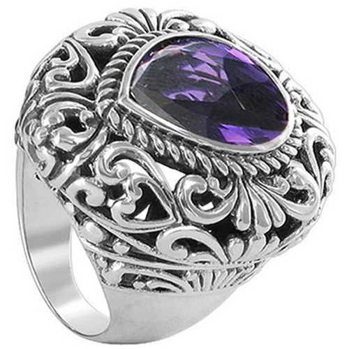925 Sterling Silver Pear Cut Simulated Amethyst Ring