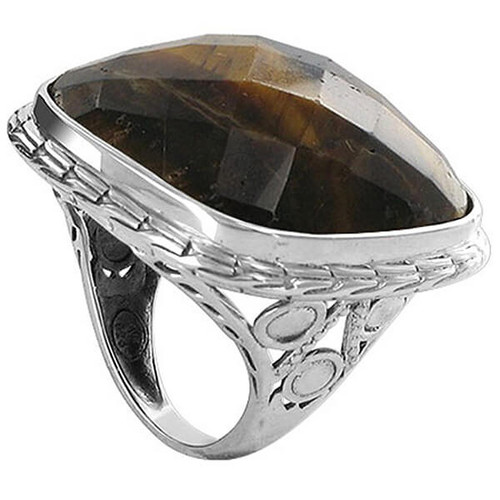 Sterling Silver Multifaceted Simulated Tiger Eye Ring