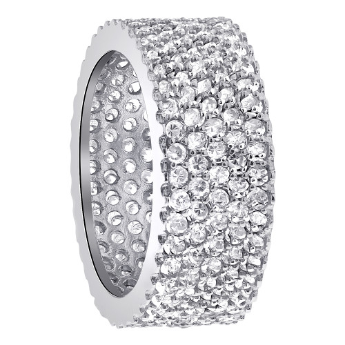 Sterling Silver Clear CZ Micro Pave Setting Eternity 9mm Band