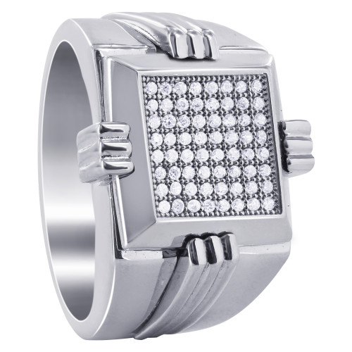 Men's Sterling Silver Clear CZ Micro Pave Setting 4mm Ring