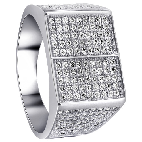 Men's Sterling Silver Round Clear CZ with Micro Pave Setting accents Ring