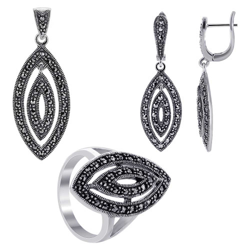 925 Silver Marcasite accented Marquise Shape Earrings Pendant and Rings Jewelry Set