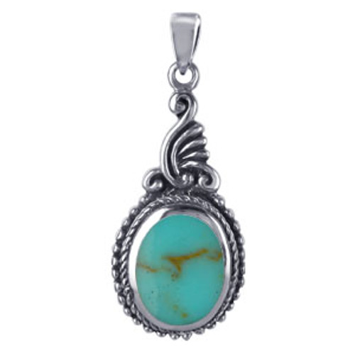 925 Sterling Silver Oval Shaped Reconstituted Turquoise Vintage Style 32mm x 13mm Pendant Charm