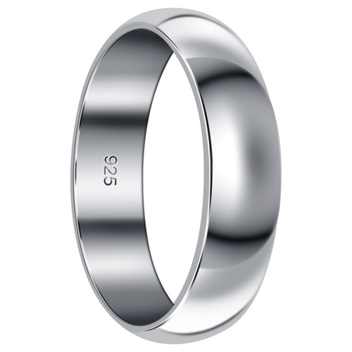 925 Sterling Silver 6mm Wedding Band #BDR1018