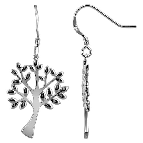 925 Sterling Silver Tree of Life French Wire Drop Earrings