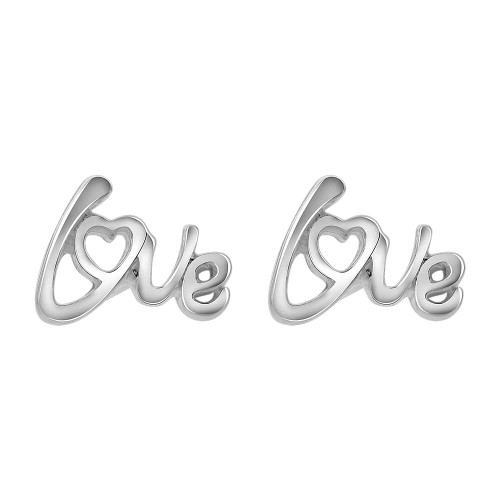 925 Sterling Silver Love Heart Post back Stud Earrings #GE313