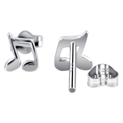 925 Sterling Silver Music Note Post back Stud Earrings #GE315
