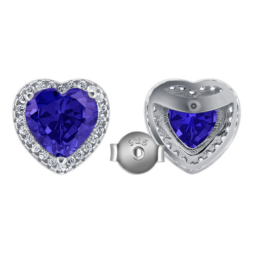 925 Sterling Silver Tanzanite Heart Cubic Zirconia Post Back Stud Earrings