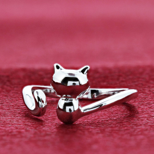 925 Sterling Silver Rhodium Plated Cat Ring