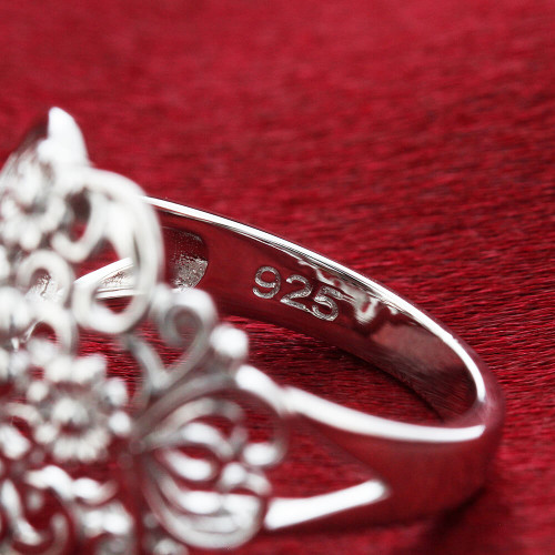 925 Sterling Silver Polished Finish Intricate Flowers Ring