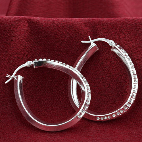 925 Sterling Silver Round Cubic Zirconia Hoop Earrings #GE336