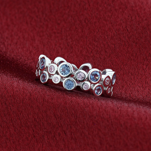 Blue and Pink Cubic Zirconia Band