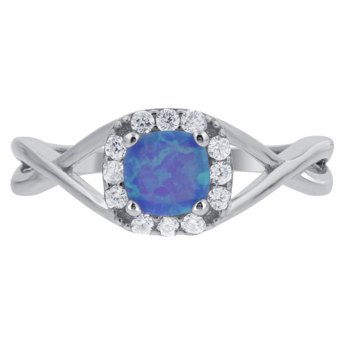 925 Silver Created Blue Opal October Birthstone & CZ Ring