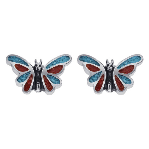 925 Sterling Silver Turquoise Coral Butterfly Southwestern Style Stud Earrings