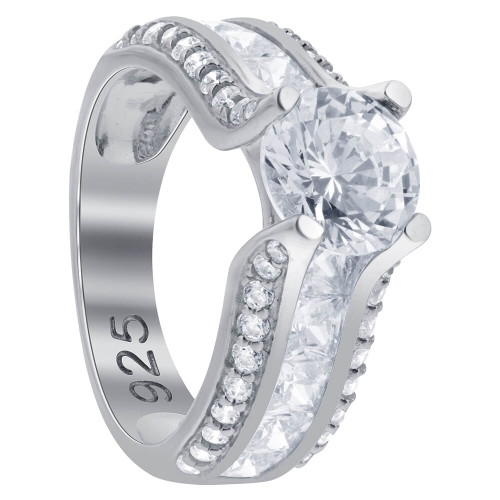 Round and Princess Cut Cubic Zirconia 925 Sterling Silver Ring