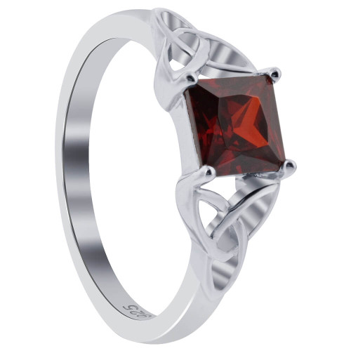 925 Silver Red CZ Solitaire Princess Cut Celtic Ring